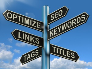Seo Optimize Keywords Links Signpost Showing Website Marketing Optimization