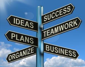 Success Ideas Teamwork Plans Signpost Showing Business Plans And Organization